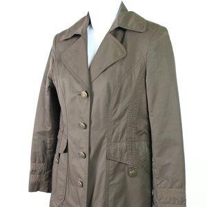 Gallery petite brown trench coat knee length